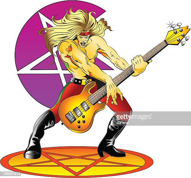 80's hair metal bassist - bass instrument stock illustrations, clip art, cartoons, & icons