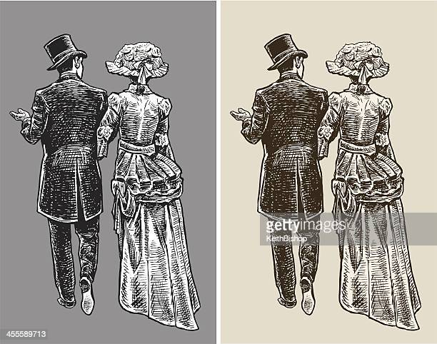 1890 der high society paar - 19. jahrhundert stock-grafiken, -clipart, -cartoons und -symbole