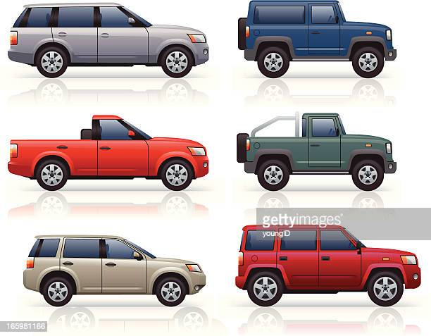 suv's & pick-ups - side view stock illustrations
