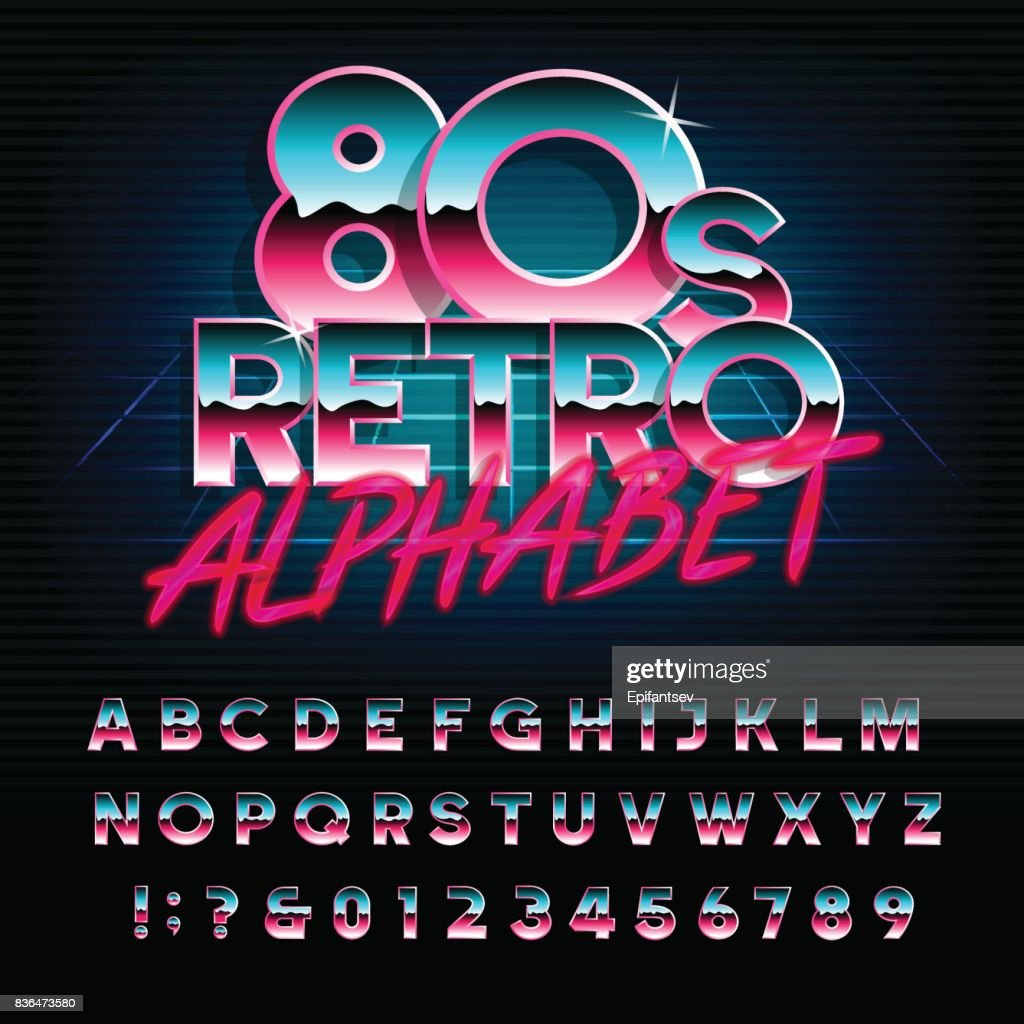 80's retro alphabet font. Type letters and numbers.