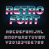 80's retro alphabet oblique font