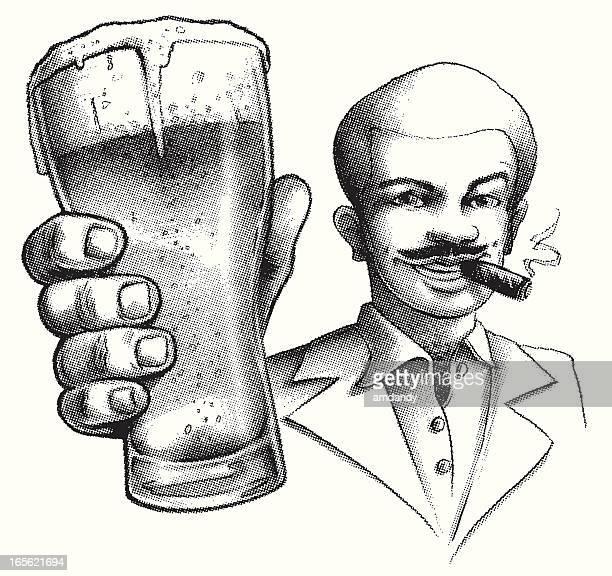 siebzigerjahre-stil trinkt ein buddy - hairy chest stock-grafiken, -clipart, -cartoons und -symbole