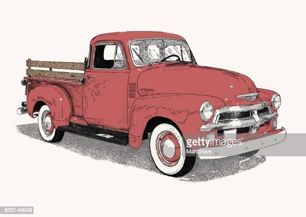 50's truck - truck stock illustrations