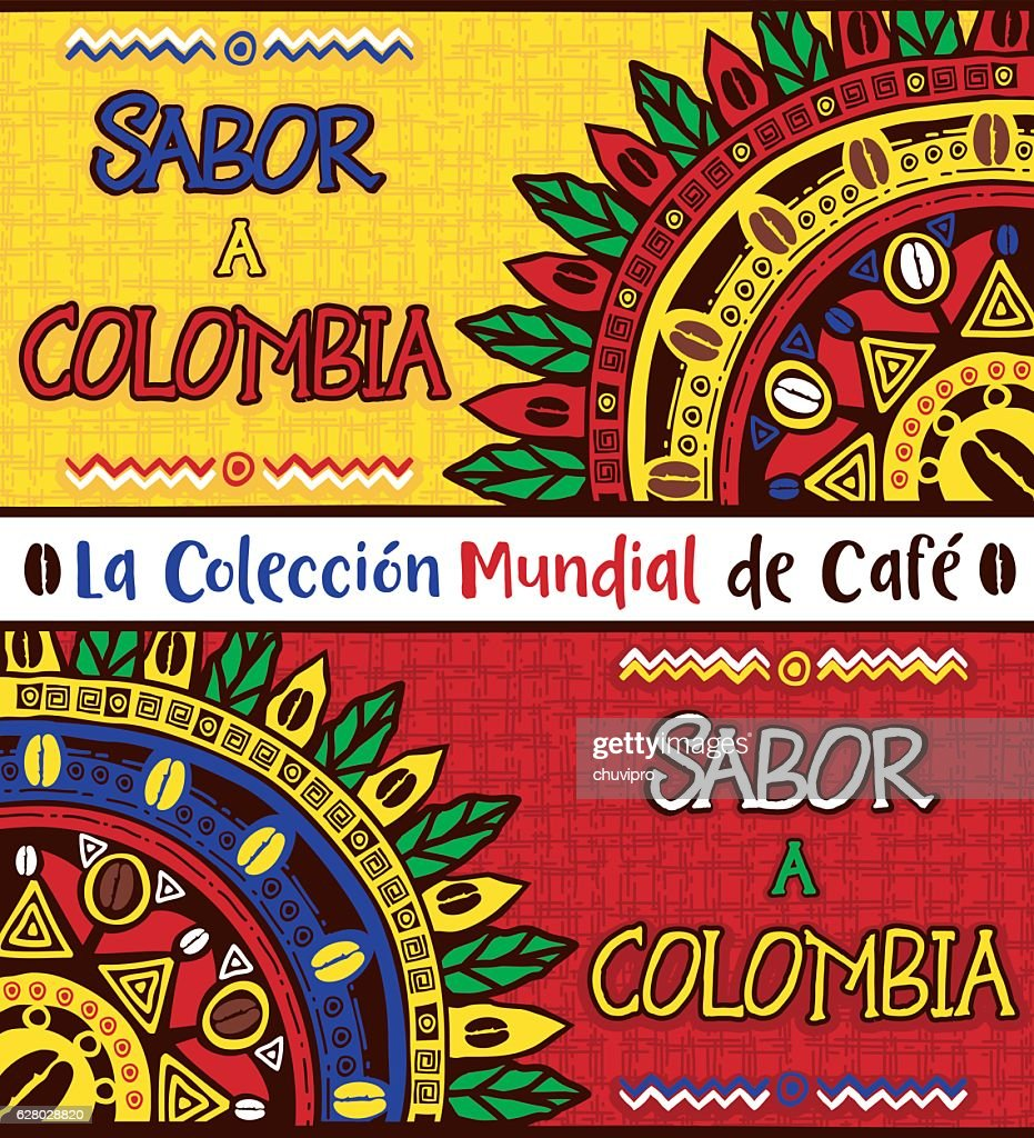 Sabor a Colombia, Taste of Colombia. Hand drawn illustrations set : stock illustration