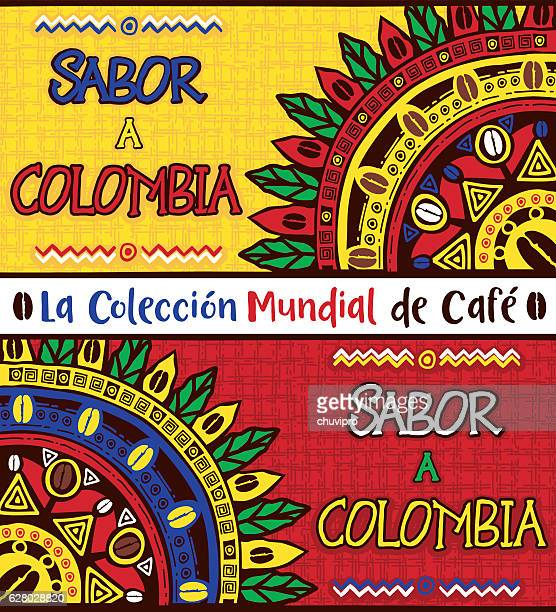 sabor a colombia, taste of colombia. hand drawn illustrations set - colombia stock illustrations