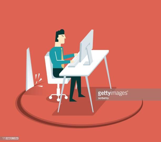 sabotage - businessman - downsizing unemployment stock illustrations, clip art, cartoons, & icons