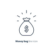Sack of money, finance saving, award prize, mono line icon