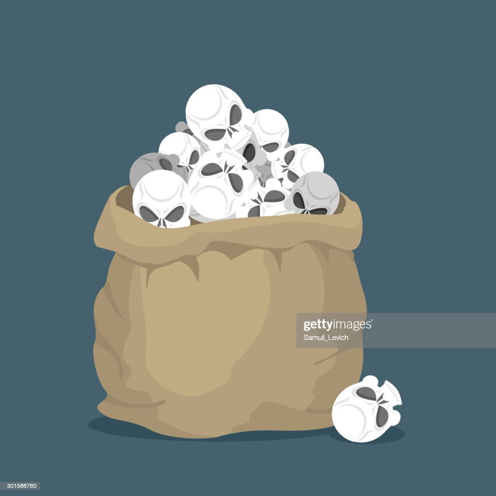 Sack of skulls. Open bag with  heads of skeletons.