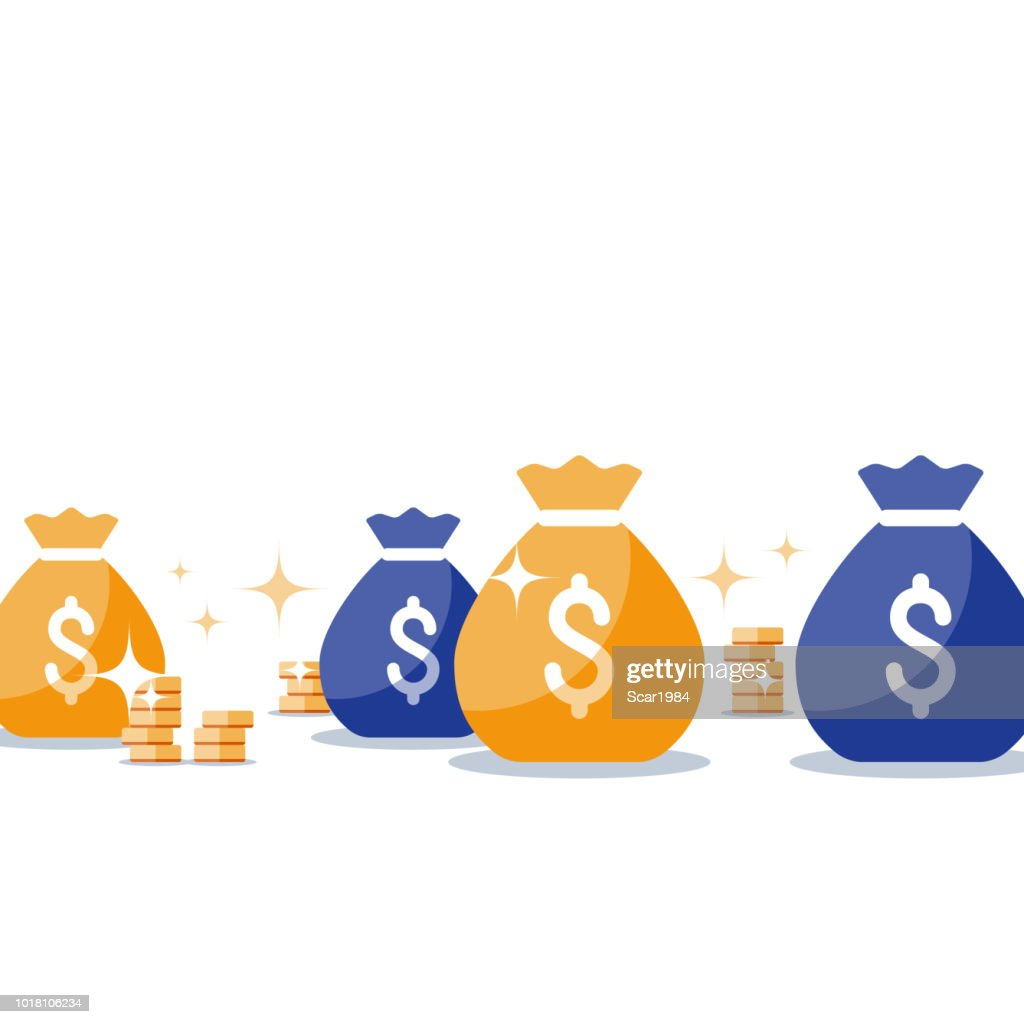 Sack with gold, money bags, business and finance, win super prize, lottery jackpot, income, vector illustration