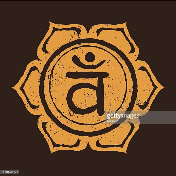 bildbanksillustrationer, clip art samt tecknat material och ikoner med sacral chakra - grunge - hinduism