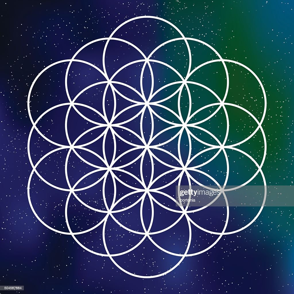 Sacred Geometry Flower Of Life Icon On A Galactic Background