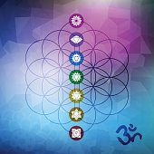 Sacred geometry flower of life with chakra icons