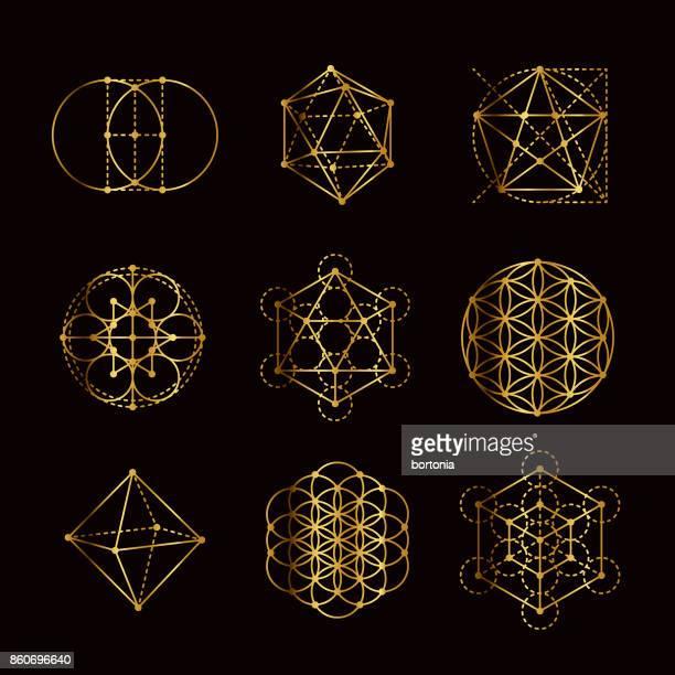 bildbanksillustrationer, clip art samt tecknat material och ikoner med sakral geometri guld ikonuppsättning - chakra