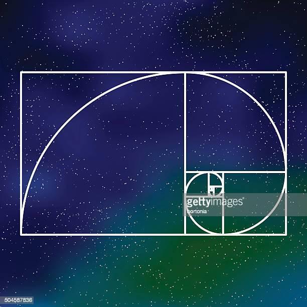 Heilige Geometrie-Symbol auf einem goldenen Abschnitt galaktische Hintergrund