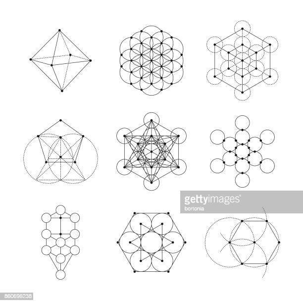 sacred geometry icon set - mystery stock illustrations