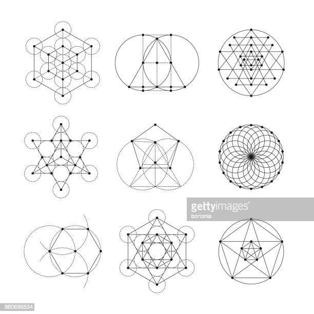 illustrations, cliparts, dessins animés et icônes de géométrie sacrée icon set - enigme