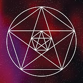 Sacred Geometry Pentagram Icon on a Galactic Background