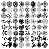 Sacred geometry set. Minimal geometric circular ornament shapes ethnic collection for business labels, trendy hipster linear mandala symbols.