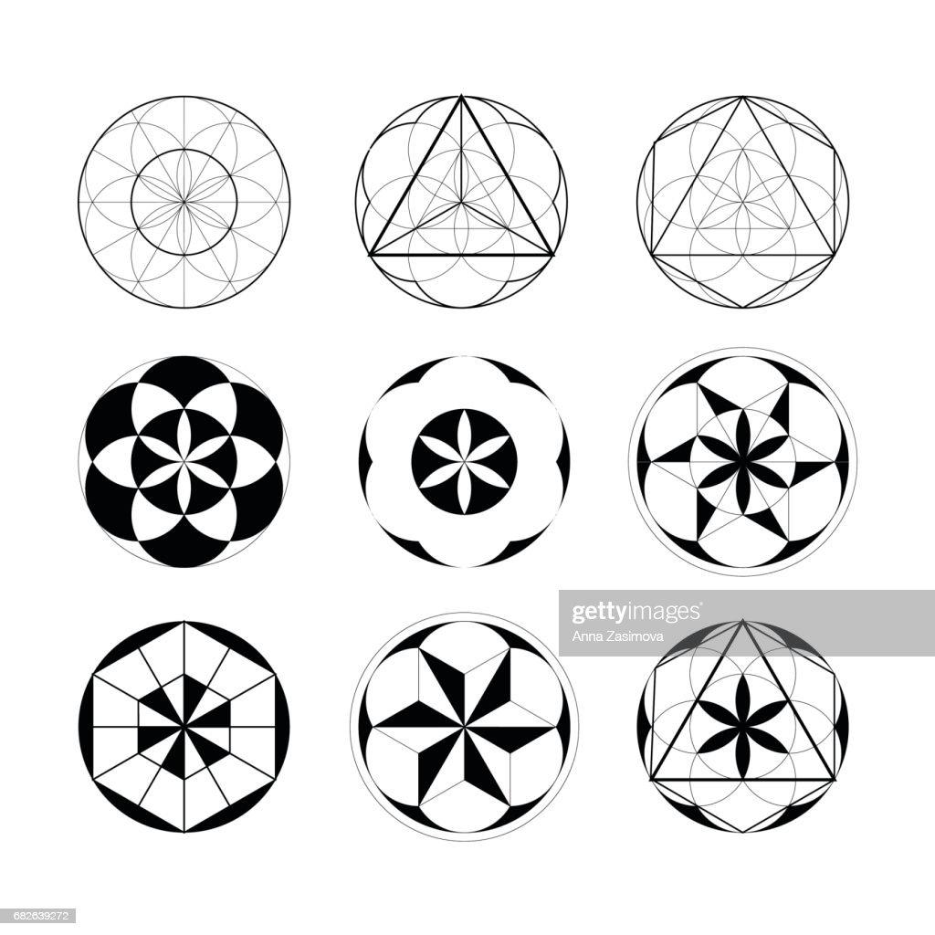 Sacred Geometry. Set of geometric linear elements.