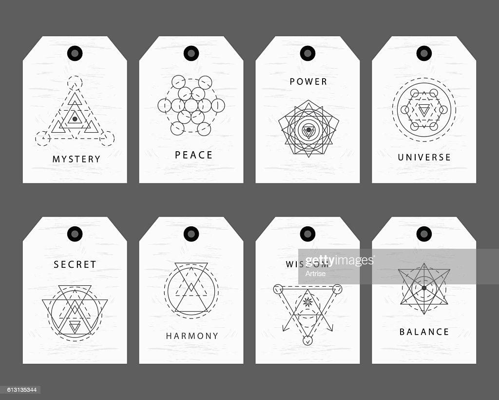 Sacred geometry signs labels set