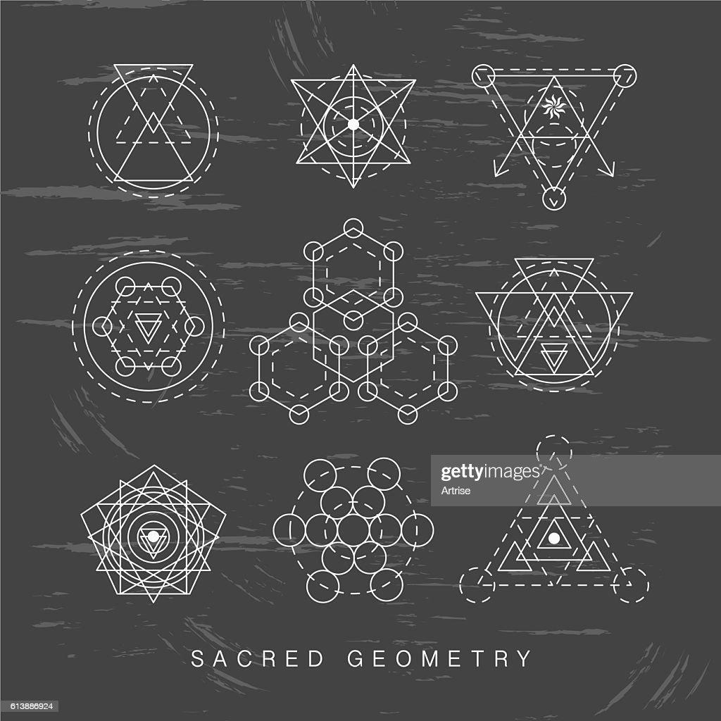 Sacred geometry signs set