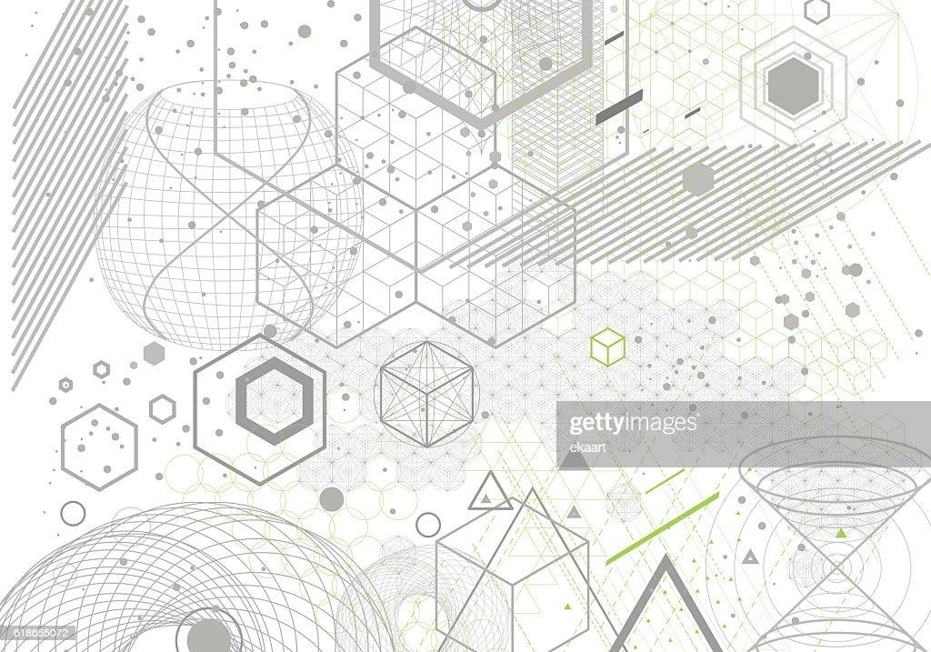 Sacred geometry symbols and elements background.