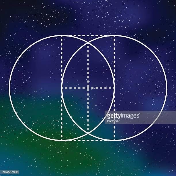 Vesica Piscis Heilige Geometrie-Symbol auf galaktische Hintergrund