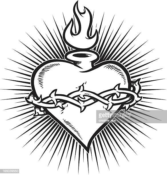 sacred heart burst - spirituality stock illustrations, clip art, cartoons, & icons