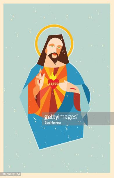 sacred heart jesus christ - jesus stock illustrations, clip art, cartoons, & icons