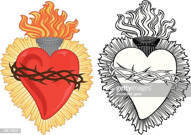 ilustraciones, imágenes clip art, dibujos animados e iconos de stock de sagrado corazón de milagro religiosa - corona de espinas