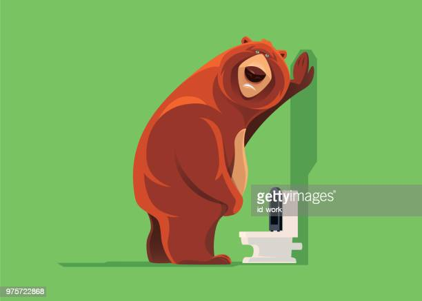 sad bear with urinary problem - diarrhea stock illustrations