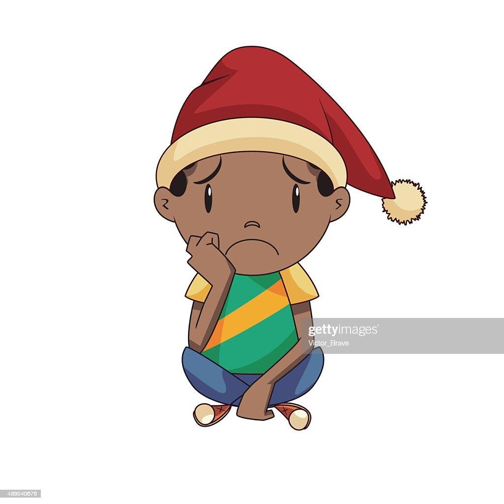 Sad boy at christmas