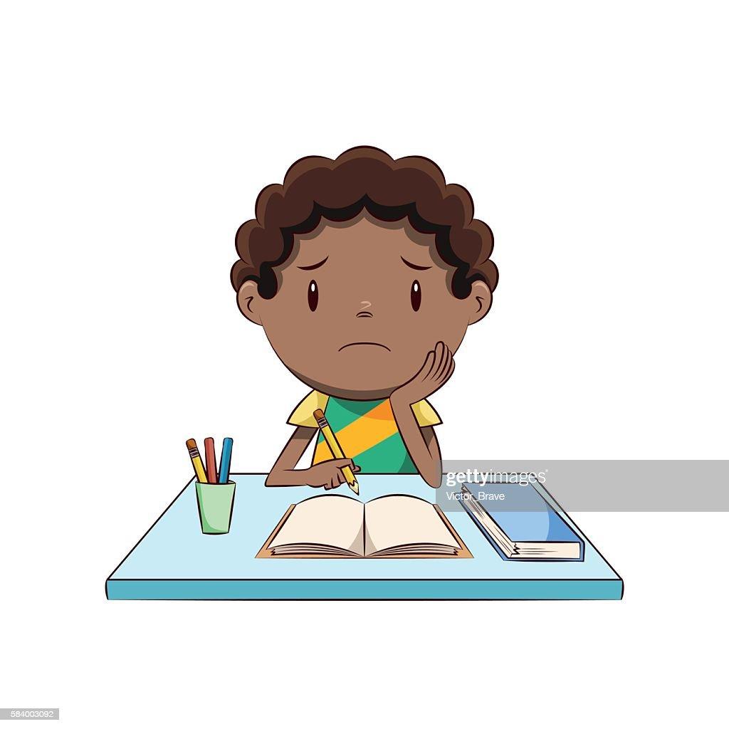 Sad boy, homework