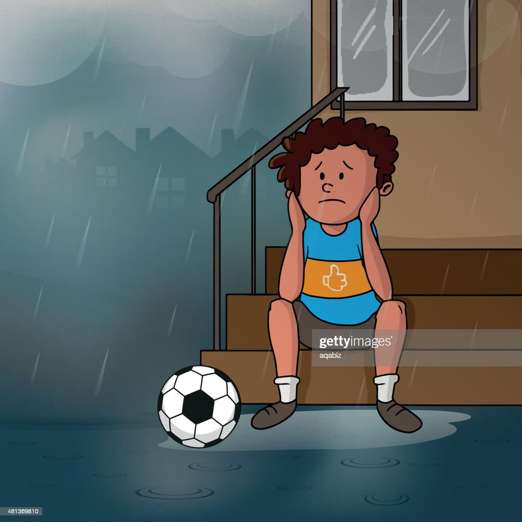 Sad boy in rain for Monsoon Season concept.
