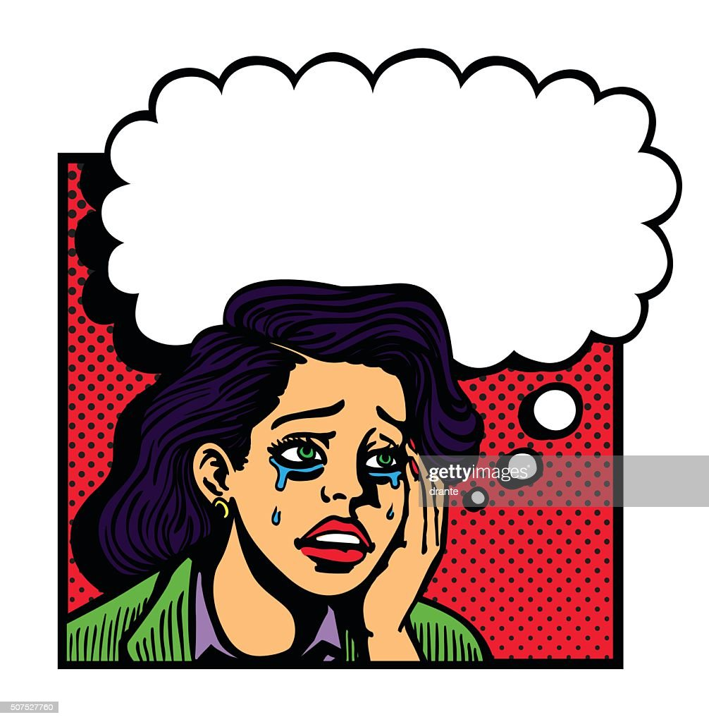 Sad broken-hearted girl crying face pop art vector illustration