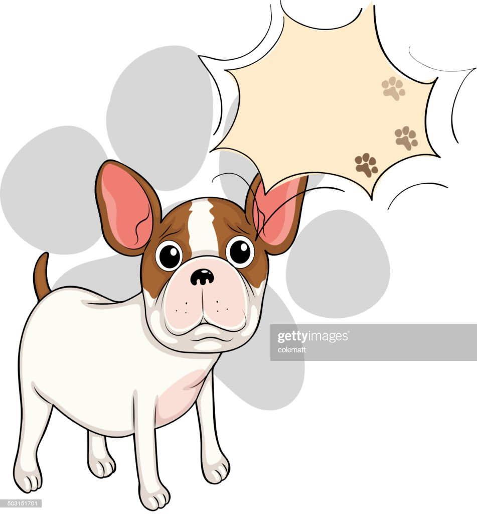 Sad bulldog with an empty callout