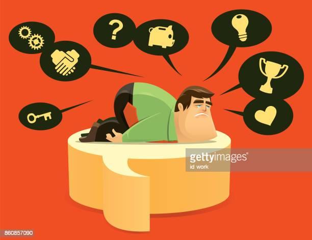sad businessman questioning