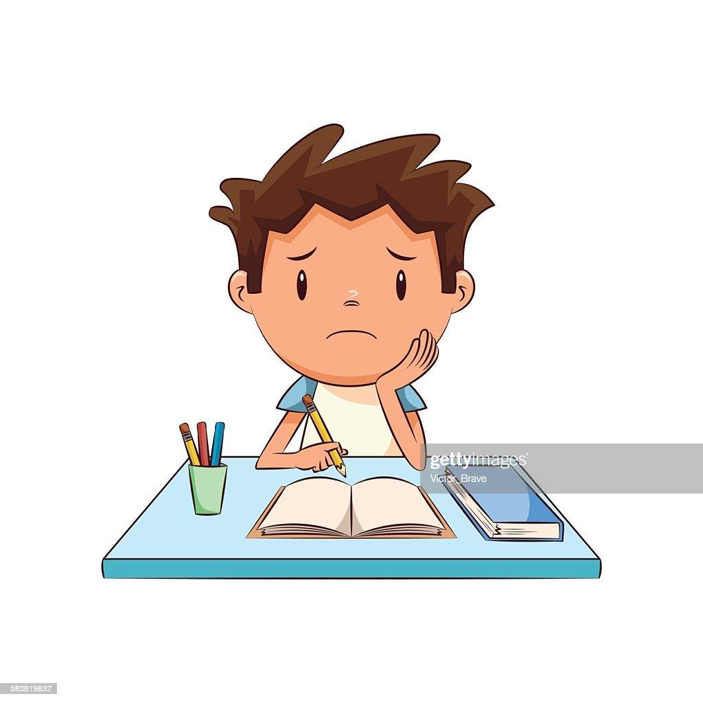Sad child, homework