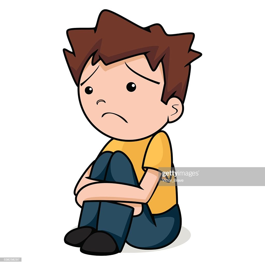 Sad child, vector illustration
