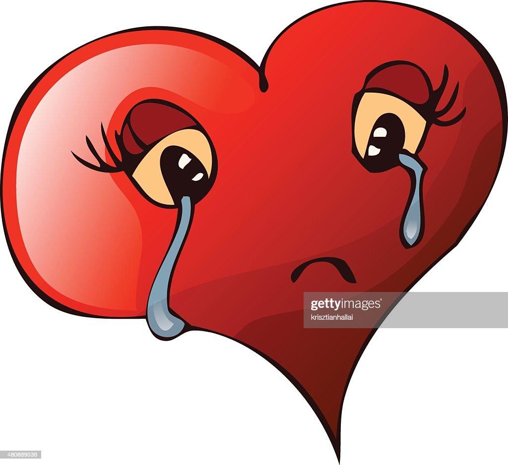 Sad Crying Heart, Vector Illustration.