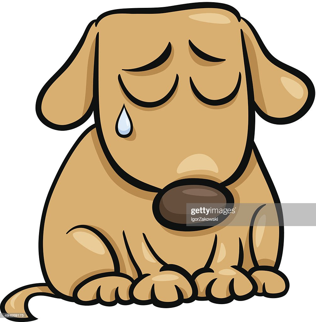 sad dog cartoon illustration