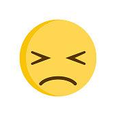 Sad emoticon. Regret emoji smiley vector icon