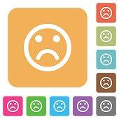 Sad emoticon rounded square flat icons