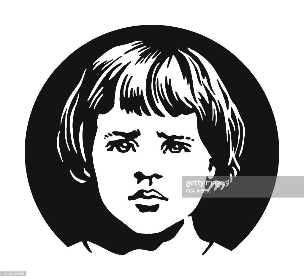 Rosto triste de uma garota : Ilustração