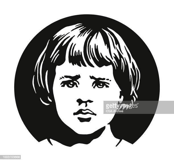 sad face of a girl - one girl only stock illustrations, clip art, cartoons, & icons