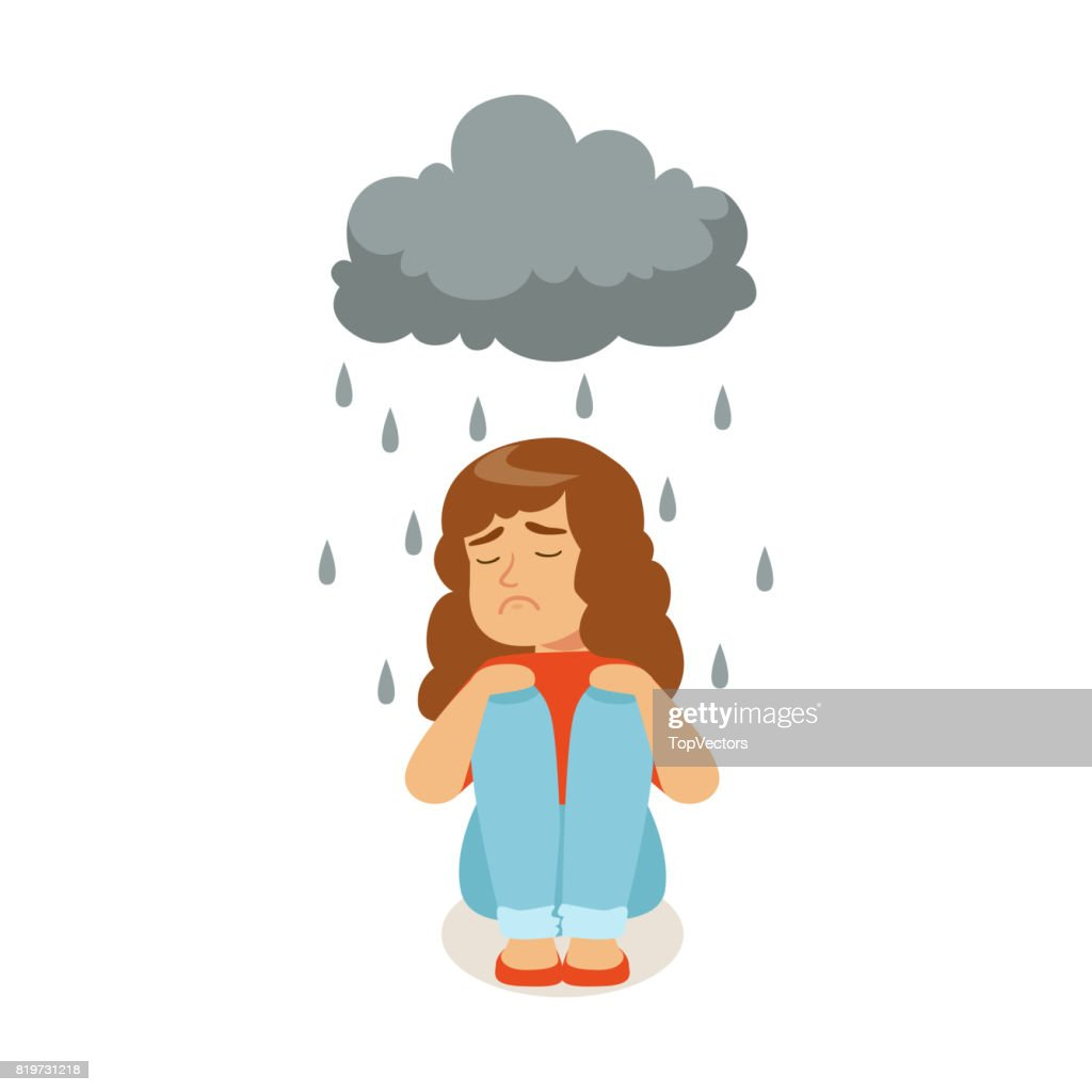 Sad girl character sitting under stormy rainy clouds character vector Illustration