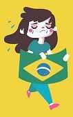 Sad Girl Holding a Brazilian Flag