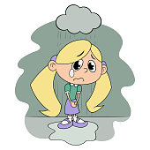 Sad girl under rain 2