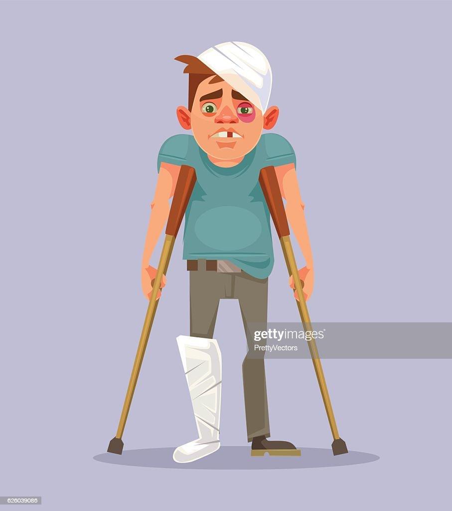 Sad man character with broken leg