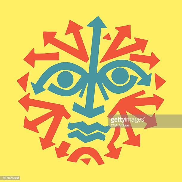 ilustraciones, imágenes clip art, dibujos animados e iconos de stock de hombre triste con rostro fabricados de flechas - sol en la cara